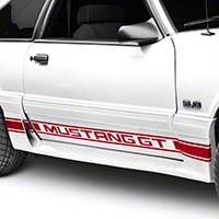 Red Rocker Stripes w/ Mustang GT Lettering (79-93 All) - AmericanMuscle Graphics 26247