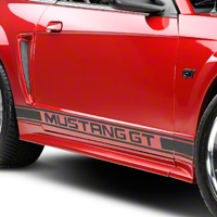 Matte Black Rocker Stripes w/ Mustang GT Lettering (79-14 All)