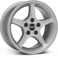 Silver 1995 Style Cobra R Wheel - 16x8 (94-04 GT, V6) - AmericanMuscle Wheels 28033