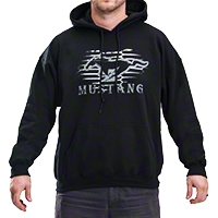 Mustang Modern Grille Hoodie - Black - AM Accessories BDFMSH107-L