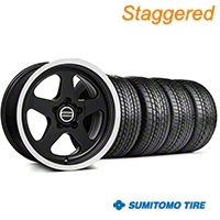 Staggered SC Style Black Wheel & Sumitomo Tire Kit - 17x9/10.5 (99-04 All) - American Muscle Wheels KIT||101001||101002||63000||63003