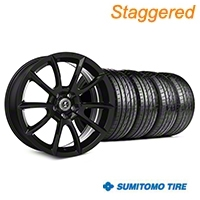 Staggered Super Snake Style Black Wheel & Sumitomo Tire Kit - 20x9/10 (05-14 All) - Shelby KIT||101407||101408||63024||63025