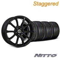 Staggered Super Snake Style Black Wheel & NITTO INVO Tire Kit - 20x9/10 (05-14 All) - Shelby KIT||101407||101408||79524||79525