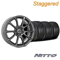 Staggered Super Snake Style Charcoal Wheel & NITTO INVO Tire Kit - 20x9/10 (05-14 All) - Shelby KIT||101411||101412||79524||79525