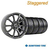 Staggered Super Snake Style Charcoal Wheel & Sumitomo Tire Kit - 19x8.5/10 (05-14 All) - Shelby KIT||101409||101410||63036||63037