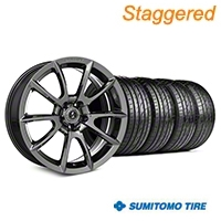 Staggered Super Snake Style Chrome Wheel & Sumitomo Tire Kit - 19x8.5/10 (05-14 All) - Shelby KIT||101413||101414||63036||63037