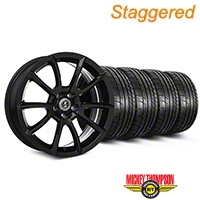 Staggered Super Snake Style Black Wheel & Mickey Thompson Tire Kit - 19x8.5/10 (05-14 All) - Shelby KIT||101405||101406||79539||79540
