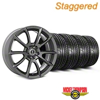 Staggered Super Snake Style Charcoal Wheel & Mickey Thompson Tire Kit - 19x8.5/10 (05-14 All) - Shelby KIT||101409||101410||79539||79540