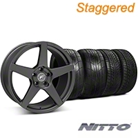 Forgestar Staggered CF5 Matte Black Wheel & NITTO Tire Kit - 20x9/11 (05-14 All) - Forgestar KIT||29874||29875||76029||79529