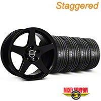 Staggered 2003 Cobra Style Black Wheel & Mickey Thompson Tire Kit - 17x9/10.5 (99-04 All) - American Muscle Wheels KIT||28076||28077||79532||101925