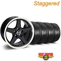 Staggered Deep Dish 2003 Style Cobra Black Wheel & Mickey Thompson Tire Kit - 17x9/10.5 (99-04 All) - American Muscle Wheels KIT||10080||10081||79532||101925