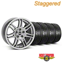 Staggered 10th Anniversary Cobra Style Anthracite Wheel & Mickey Thompson Tire Kit - 17x9/10.5 (99-04 All) - American Muscle Wheels KIT||28341||28344||79532||101925