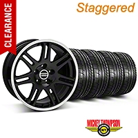 Staggered 10th Anniversary Style Black Wheel & Mickey Thompson Tire Kit - 17x9/10.5 (99-04 All) - American Muscle Wheels KIT||28342||28345||79532||101925