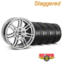 Staggered 10th Anniversary Cobra Style Chrome Wheel & Mickey Thompson Tire Kit - 17x9/10.5 (99-04 All) - American Muscle Wheels KIT||28340||28343||79532||101925