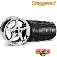 Staggered Cobra R Style Chrome Wheel & NITTO Tire Kit & Mickey Thompson Tire Kit - 17x9/10.5 (99-04 All) - American Muscle Wheels KIT||28007||28015||79532||101925