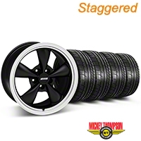 Staggered Deep Dish Bullitt Matte Black Wheel & Mickey Thompson Tire Kit 17x9/10.5 (99-04 All) - American Muscle Wheels KIT||28301||28302||79532||101925