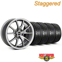 Staggered FR500 Style Anthracite Wheel & Mickey Thompson Tire Kit - 17x9/10.5 (99-04 All) - American Muscle Wheels KIT||28090||28091||79532||101925