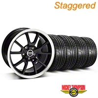 Staggered FR500 Style Black Wheel & Mickey Thompson Tire Kit - 17x9/10.5 (99-04 All) - American Muscle Wheels KIT||28092||28093||79532||101925