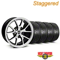 Staggered FR500 Style Black Machined Wheel & Mickey Thompson Tire Kit - 17x9/10.5 (99-04 All) - American Muscle Wheels KIT||28380||28381||79532||101925