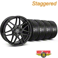 Forgestar Staggered F14 Piano Black Wheel & Mickey Thompson Tire Kit - 17x9/10.5 (99-04 All) - Forgestar KIT||29861||29862||79532||101925