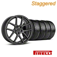 MMD Staggered Zeven Charcoal Wheel & Pirelli Tire Kit - 19x8.5/10 (05-14 All) - MMD KIT||101913||101914||63101||63102