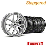 MMD Staggered Zeven Silver Wheel & Pirelli Tire Kit - 19x8.5/10 (05-14 All) - MMD KIT||101917||101918||63101||63102