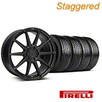 Niche Staggered Matte Black Essen Wheel & Pirelli Tire Kit 19x8.5/10 (05-14 All) - Niche KIT||101773||101774||63101||63102