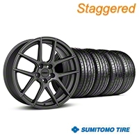 MMD Staggered Zeven Charcoal Wheel & Sumitomo Tire Kit - 19x8.5/10 (05-14 All) - MMD KIT||101913||101914||63036||63037