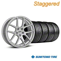 MMD Staggered Zeven Silver Wheel & Sumitomo Tire Kit - 19x8.5/10 (05-14 All) - MMD KIT||101917||101918||63036||63037