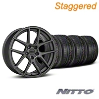 MMD Staggered Zeven Charcoal Wheel & NITTO INVO Tire Kit - 19x8.5/10 (05-14 All) - MMD KIT||101913||101914||79520||79521
