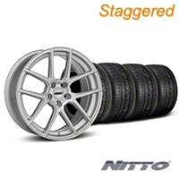MMD Staggered Zeven Silver Wheel & NITTO INVO Tire Kit - 19x8.5/10 (05-14 All) - MMD KIT||101917||101918||79520||79521