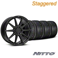 Niche Staggered Matte Black Essen Wheel & NITTO INVO Tire Kit 19x8.5/10 (05-14 All) - Niche KIT||101773||101774||79520||79521