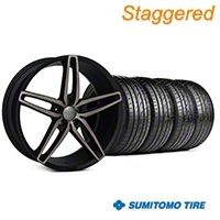 Foose Staggered Foose Double Dark Stallion Wheel & Sumitomo Tire Kit - 20x8.5/10 (05-14 All) - Foose KIT||101789||101790||63024||63025