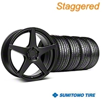 Niche Staggered Matte Black GT5 Wheel & Sumitomo Tire Kit - 20x8.5/10.5 (05-14 All) - Niche KIT||101781||101782||63024||63025