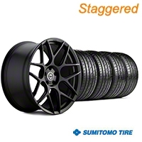 HRE Staggered Flowform FF01 Tarmac Black Wheel & Sumitomo Tire Kit - 20x9.5/10.5 (05-14 All) - HRE KIT||101857||101858||63024||63025