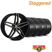 Foose Staggered Foose Double Dark Stallion Wheel & Mickey Thompson Tire Kit - 20x8.5/10 (05-14 All) - Foose KIT||101789||101790||79541||79542