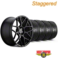 HRE Staggered Flowform FF01 Tarmac Black Wheel & Mickey Thompson Tire Kit - 20x9.5/10.5 (05-14 All) - HRE KIT||101857||101858||79541||79542