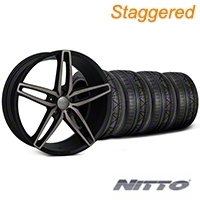 Foose Staggered Double Dark Stallion Wheel & NITTO Invo Tire Kit - 20x8.5/10 (05-14 All) - Foose KIT||101789||101790||79524||79525
