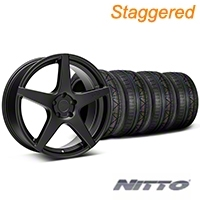 Niche Staggered Matte Black GT5 Wheel & NITTO INVO Tire Kit - 20x8.5/10.5 (05-14 All) - Niche KIT||101781||101782||79524||79525