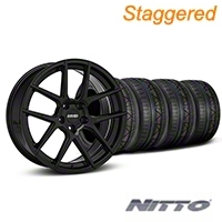 MMD Staggered Zeven Black Wheel & NITTO INVO Tire Kit - 20x8.5/10 (05-14 All) - MMD KIT||101921||101922||79524||79525