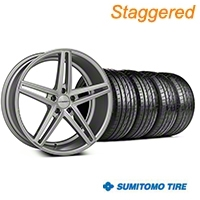 Staggered Silver Polished CV5 Wheel & Sumitomo Tire Kit - 20x9/10.5 (05-14 All) - Vossen KIT||102180||102181||63024||63025