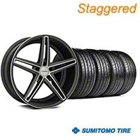 Staggered Matte Graphite Machined CV5 Wheel & Sumitomo Tire Kit - 20x9/10.5 (05-14 All) - Vossen KIT||102182||102183||63024||63025