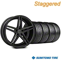 Staggered Matte Graphite CV5 Wheel & Sumitomo Tire Kit - 20x9/10.5 (05-14 All) - Vossen KIT||102184||102185||63024||63025