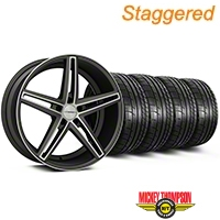 Staggered Matte Graphite Machined CV5 Wheel & Mickey Thompson Tire Kit - 20x9/10.5 (05-14 All) - Vossen KIT||102182||102183||79541||79542