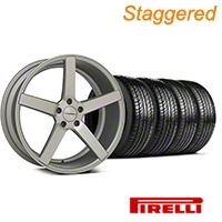 Staggered Matte Staggered Silver Machined CV3 Wheel & Pirelli Tire Kit - 19x8.5/10 (05-14 All) - Vossen KIT||102160||102161||63101||63102