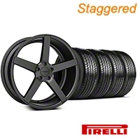 Staggered Matte Staggered Matte Graphite CV3 Wheel & Pirelli Tire Kit - 19x8.5/10 (05-14 All) - Vossen KIT||102164||102165||63101||63102
