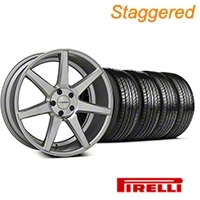 Staggered Silver Polished CV7 Wheel & Pirelli Tire Kit - 19x8.5/10 (05-14 All) - Vossen KIT||102168||102169||63101||63102