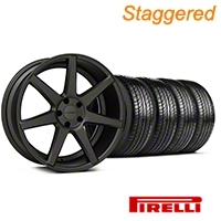 Staggered Matte Graphite CV7 Wheel & Pirelli Tire Kit - 19x8.5/10 (05-14 All) - Vossen KIT||102176||102177||63101||63102