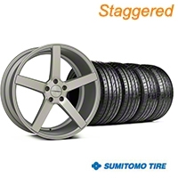 Staggered Matte Staggered Silver Machined CV3 Wheel & Sumitomo Tire Kit - 19x8.5/10 (05-14 All) - Vossen KIT||102160||102161||63036||63037