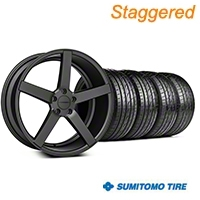 Staggered Matte Matte Graphite CV3 Wheel & Sumitomo Tire Kit - 19x8.5/10 (05-14 All) - Vossen KIT||102164||102165||63036||63037